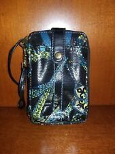 Mudd Glazed Black Blue And Yellow Wristlet Hippy Floral Peace Clutch Purse