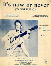 ELVIS PRESLEY - IT'S NOW OR NEVER - Original Vintage SHEET MUSIC Australia 1960