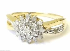 9 Carat Yellow Gold Cluster Engagement Fine Diamond Rings