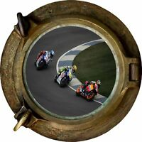 Huge 3D Porthole Moto Gp View Wall Stickers Mural Film Art Decal Wallpaper 297