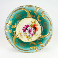 """Antique Bavarian Bowl, Hand Painted Poppy Floral, Green with Heavy Gold, 10 3/4"""""""
