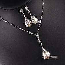 18k white gold gf made with SWAROVSKI crystal pearl earrings necklace set