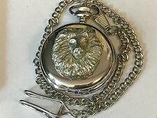 Lion's Head TG23 Pewter on a Silver Pocket Watch Quartz fob
