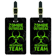 Zombie Outbreak Response Team Green Distressed Luggage Suitcase ID Tags Set of 2