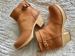 Swedish Hasbeens Leather Wood Heel Ankle Boot Clog Made In Italy Size 38