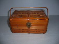 Vintage Small Sewing Basket with Spools & Accessories