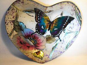 HEART PLATE BOWL PEACOCK BUTTERFLY  RAINBOW ENAMELED HEART SHAPE SMALL BOWL 20CM