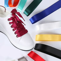 Unisex Colorful  Flat Silk Satin Ribbon Shoelaces Sport Shoes Laces Shoestrings