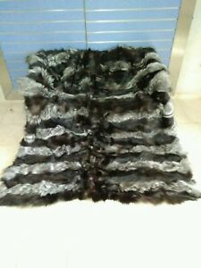 Luxury Silver Fox Fur Throw Real Fox Fur Blanket / Bedspread