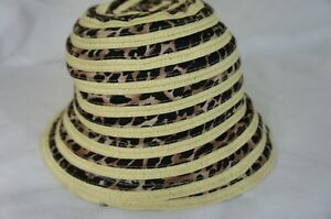 August Hat Sz OS One Size Natural Black Multi Animal Print Mix Cloche Hat