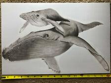 New ListingHumpback Whale art print, Humpback whale wall art, black and white whale drawing