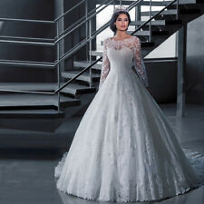 Hot Bateau White Long Sleeves Wedding Dress Lace With Short Train Bridal Gown