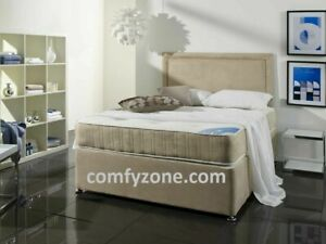 FAUX SUEDE DIVAN BED BASE, Double, 4ft6, Small Single, 5ft, Super King Size