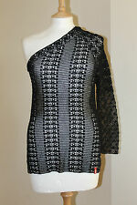 Miss Sixty BNWOT Black Beach Summer Everyday One Shoulder Crochet Top Size M
