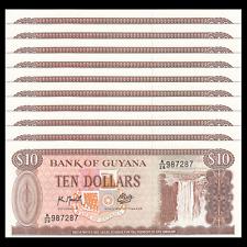 Lot 10 PCS, Guyana 10 Dollars, 1992, P-23, banknote UNC