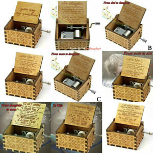 You Are My Sunshine Wooden Engraved Music Box Mom/Dad To Daughter/Son Gift Toys