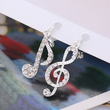 Silver tone musical note treble clef and eighth note w/ crystal clip on earrings