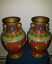"Pair Beautiful Antiques Large Chinese Cloisonne Dragon Vases 10x6 inch""Tall"