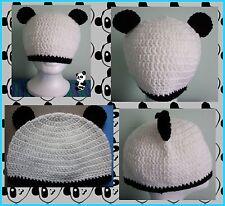 crochet panda eared beanie handmade medium size fits most