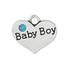 4 X Tibetano Plata Rhinestone Bebé Niño Colgante de corazón encantos 17m X 15mm