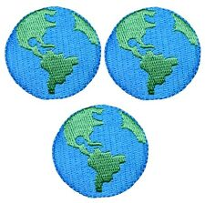Earth Globe Planet Applique Patch (3-Pack, Small, Iron on)