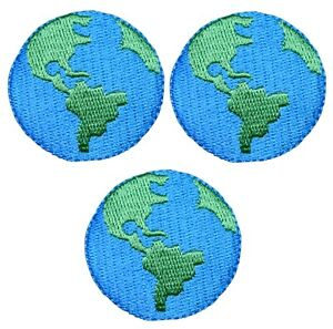 "Planet Earth Applique Patch - Outer Space, Solar System 1.5"" (3-Pack, Iron on)"