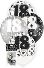 6 Glitz 18th Birthday Decorations Latex Helium Balloons Black Silver White 80892