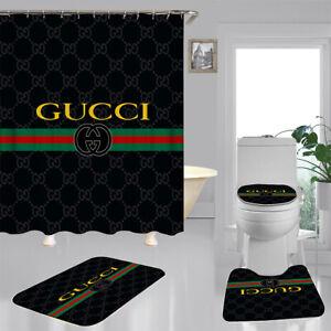 Luxury 4PCS Shower Curtain Gucci Bathroom Carpet Set Bath Mat Non-slip Gift