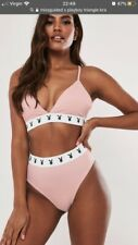 Playboy X Missguided Pink Triangle Set. Size Uk 6