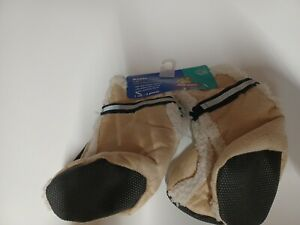 Top Paw Boots Large Dogs Rubber Bottoms Reflective Straps 4 Pieces 1 Set Tan
