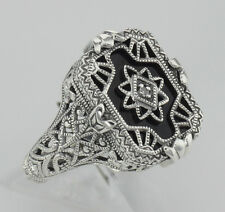 Victorian Style Black Onyx Diamond Filigree Ring Sterling Silver Size 6, 7, 8