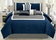 7 Piece Navy Blue / Grey / White Color Block Bed in A Bag Microfiber Comforter S