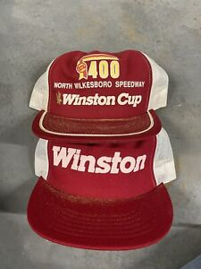 Vintage Winston Cup Trucker Hat Lot Of 2 North Wilkesboro Rare USA Mesh Two Tone
