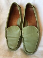 Lands End Womens Driving Loafer Shoes Size 6 Green Leather Slip On
