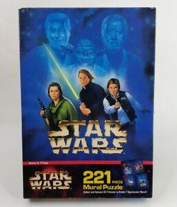 Vintage 1997 MB Star Wars Mural Puzzle 221 Piece Scene 4 Yoda skywalker Solo New