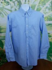 IZOD Mens Button Front Dress Shirt Blue white stripe sz Large