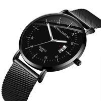 Luxury Men Watch Analog Date Slim Mesh Stainless Steel Dress Casual Wrist Watch