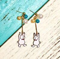 E1064 Betsey Johnson Animal Easter Dangling Rabbit Bunny Balloon Earrings  UK