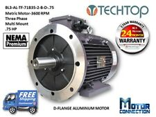 .75 HP Electric Motor, METRIC,3600 RPM, 3-Phase, D-Flange, Aluminum