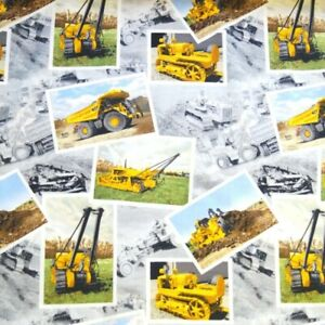 SALE /% 1.20 m Stretch cotton jersey construction vehicles on blue