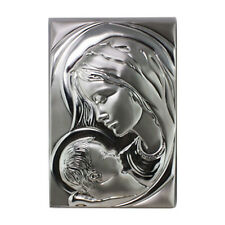 Quadro Laminato in Argento AG003 con Volto Madonna e Bambino Gesù in Rilievo