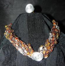 SET: Halskette & 1 Ring, Leitergarn, Herbstfarben, Unikat - PREISSENKUNG!!!