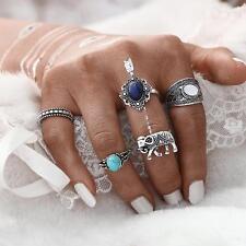 5pcs/set Silver Gypsy Boho Ring Elephant Sapphire Opal Turquoise Jewelry
