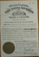 FRANK J. LAUSCHE: 1950 Autograph/Signed Document - Ohio OH Governor & US Senator