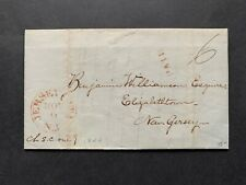 1844 Jersey City Nj Supreme Court Stampless Letter ! Elizabethtown Williamson !