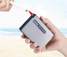 Automatic Cigarette Case Dispenser with Built in Torch Lighter Butane Windproof