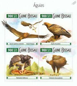 BIRDS OF PREY (Eagles / águias) Mint MNH Stamp Sheet M/S (2015 Guinea-Bissau)