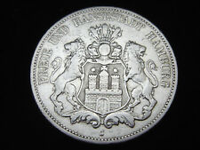 Dt. Reich, Hamburg, 5 Mark, 1876 J, Stadtwappen, J.- 62, Silber, orig., f/ss.!