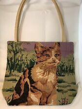 Cat Tapestry Purse Interior Zippered Pocket Tan Straps Cute Great Gift