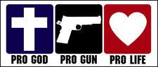 3x9 inch Pro God Pro Gun Pro Life Bumper Sticker - conservative political faith